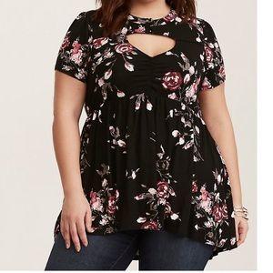 Black floral cutout babydoll shirt